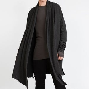 Zara Mens Long Black Asymmetrical Raw Hem Open Cardigan w Pockets Size Medium